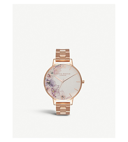 OLIVIA BURTON OB16PP38 Watercolour Florals floral-print rose-gold plated watch
