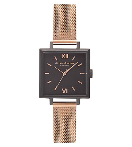 OLIVIA BURTON OB16SS07 square ion-plated stainless steel watch