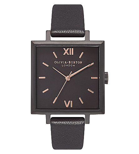 OLIVIA BURTON Quartz black dial leather strap watch