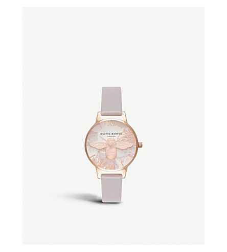 OLIVIA BURTON Abstract Florals rose gold-plated stainless steel and leather watch