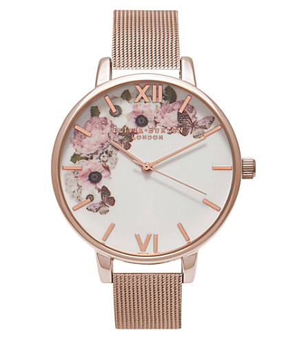 OLIVIA BURTON OB16WG18 Floral rose gold-plated watch