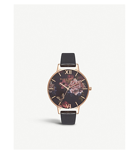 OLIVIA BURTON Dark Bouquet rose gold-plated stainless steel and leather watch