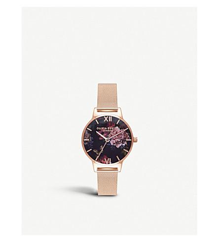 OLIVIA BURTON Dark Bouquet rose gold-plated stainless steel watch