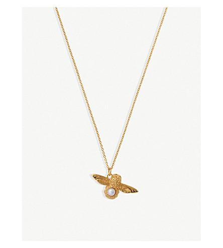 OLIVIA BURTON 模压蜂镀金珍珠项链