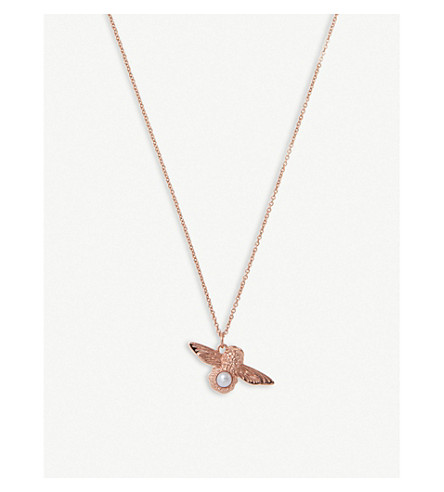 OLIVIA BURTON Moulded Bee rose gold-plated and pearl necklace