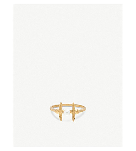 OLIVIA BURTON Pearl Bee 18ct gold-plated and freshwater pearl ring