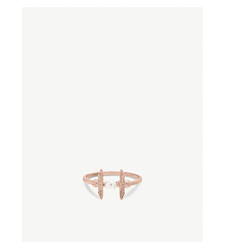 OLIVIA BURTON Pearl Bee 18ct rose gold-plated and pearl ring