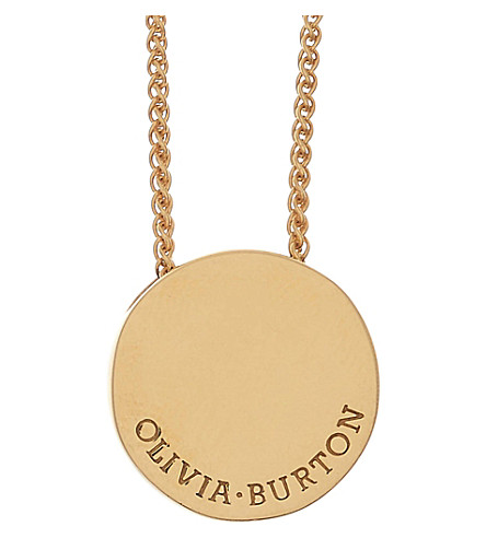 OLIVIA BURTON Engravables 18ct gold plated sterling silver pendant