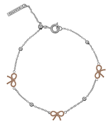 OLIVIA BURTON Bow and ball silver & rose gold bracelet