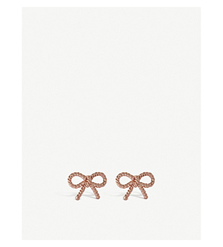 OLIVIA BURTON Vintage Bow 18ct rose gold plated sterling silver stud earrings
