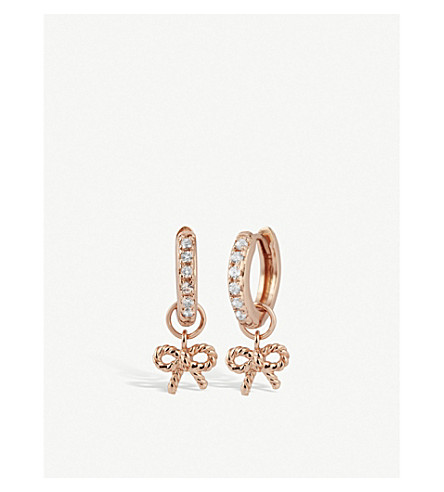 OLIVIA BURTON Rose-gold plated vermeil and sterling silver hoop earrings