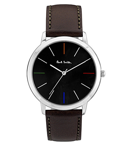 PAUL SMITH Ma stainless steel and leather watch