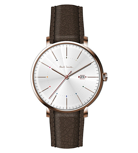 PAUL SMITH P10082 track rose gold-plated stainless steel and leather watch