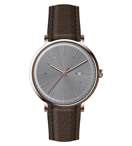 PAUL SMITH P10083 track rose gold-plated stainless steel and leather watch