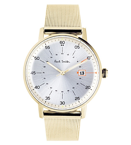 PAUL SMITH P10130 Gauge gold-plated stainless steel watch