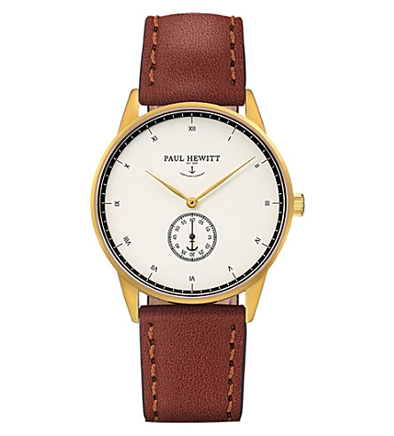 PAUL HEWITT Signature Line rose gold-plated leather watch