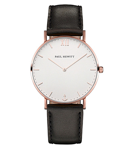 PAUL HEWITT Sailor Line rose gold-plated leather watch
