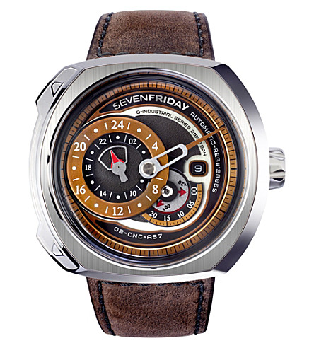 SEVEN FRIDAY Q2/01 stainless steel and suede watch