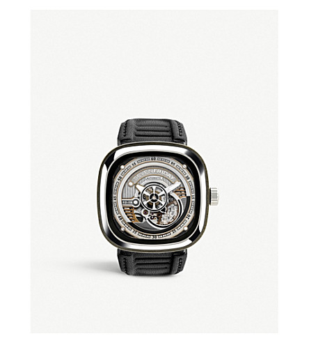 SEVEN FRIDAY S2/01 Revolution stainless steel and leather watch