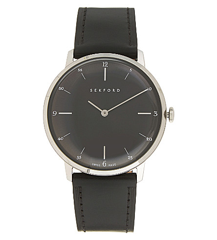 SEKFORD Sek 004 stainless steel and leather watch (Dark+grey