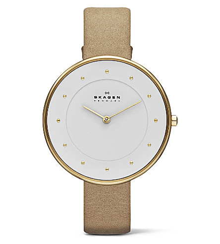 SKAGEN SKW2137 two-hand leather watch (White