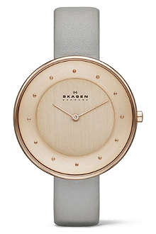 SKAGEN SKW2139 two-hand leather watch