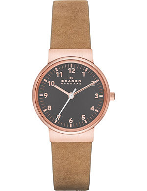 SKAGEN SKW2189 Ancher stainless steel, rose gold-toned plated and leather watch