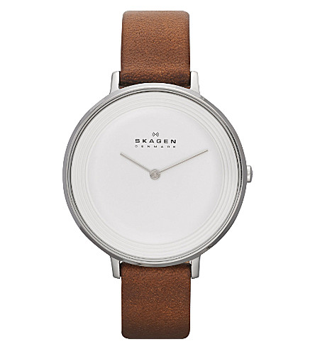 SKAGEN SKW2214 Ditte stainless steel and leather watch (White