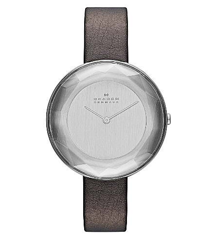 SKAGEN SKW2274 Gitte Refined stainless steel and red leather watch (Silver