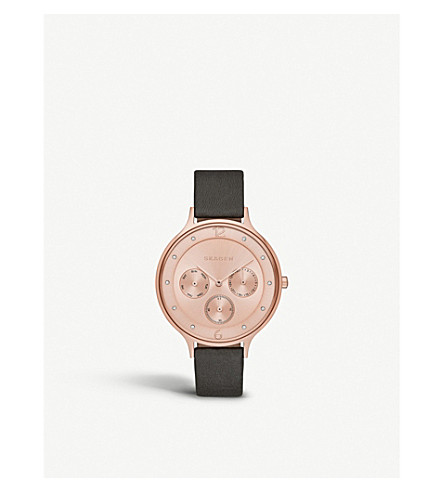 SKAGEN SKW2392 Anita rose-gold and leather watch