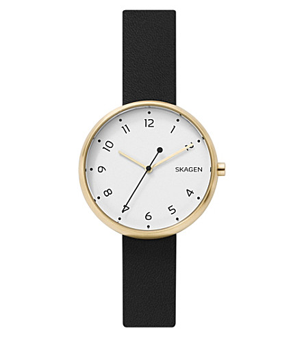 SKAGEN SKW2626 Signatur gold-tone and leather watch