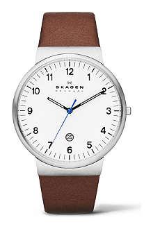 SKAGEN SKW6082 three-hand leather watch
