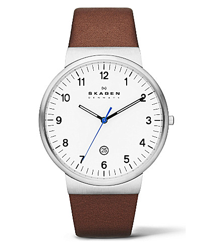SKAGEN SKW6082 three-hand leather watch (White