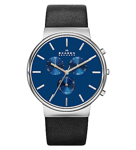 SKAGEN SKW6105 Ancher leather chronograph watch (Blue