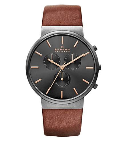 SKAGEN Ancher chronograph leather watch (Black