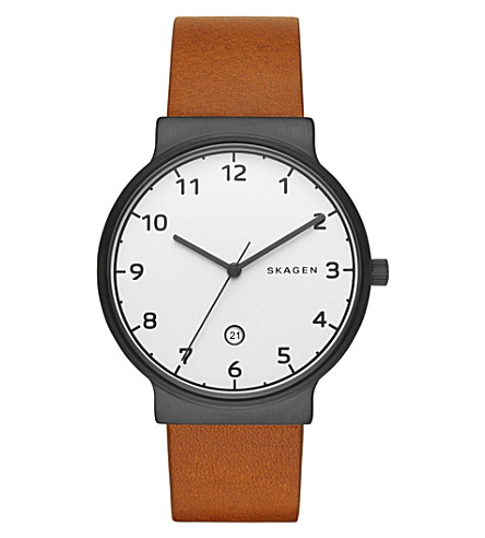 SKAGEN SKW6297 Ancher stainless steel and leather watch