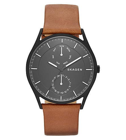SKAGEN SKW6347 Holst Multifunction stainless steel and leather watch