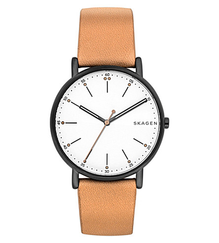 SKAGEN SKW6352 Signatur stainless steel and leather watch