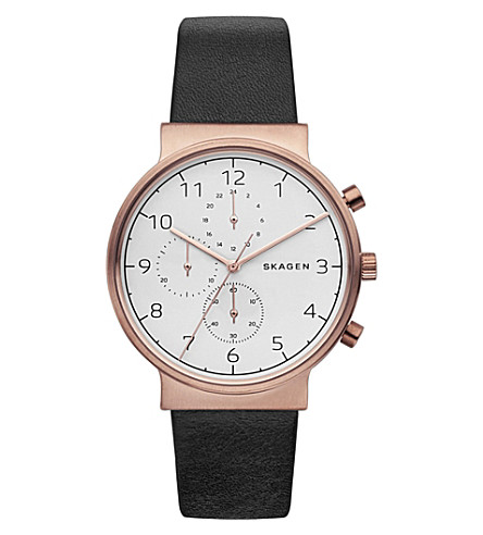 SKAGEN SKW6371 Ancher stainless steel and leather watch