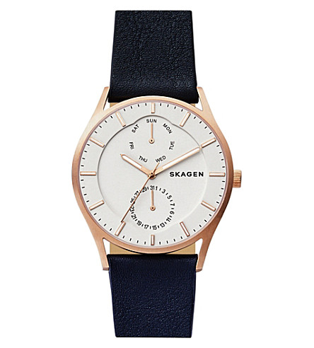 SKAGEN SKW6372 Holst Multifunction rose-gold and leather watch