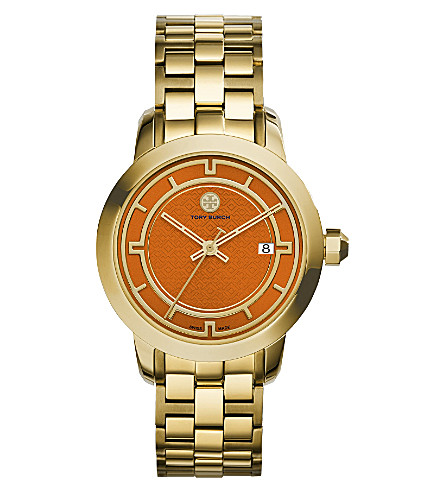 TORY BURCH TRB1006 gold-tone/orange watch (Orange