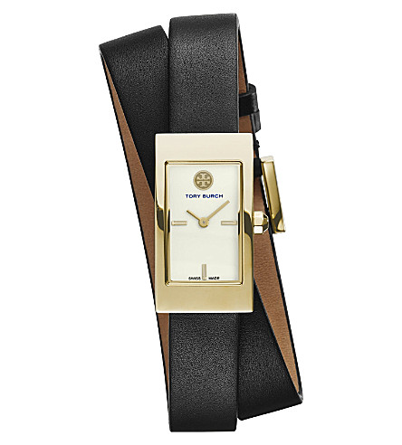 TORY BURCH The Buddy Signature double-wrap gold-toned stainless steel watch (Ivory