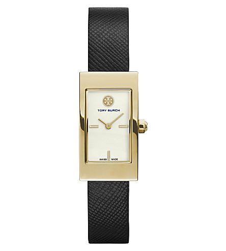 TORY BURCH TRB2006 Buddy Signature gold-plated and saffiano leather watch (Ivory