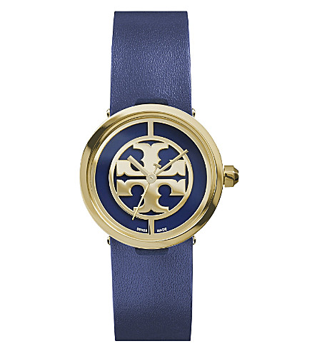 TORY BURCH The Reva gold-plated stainless steel and leather watch (Navy