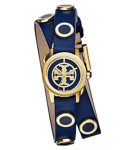 TORY BURCH Reva double-wrap gold-toned stainless steel and leather watch (Blue
