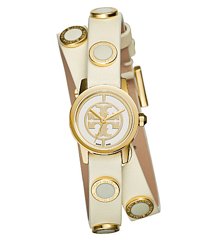 TORY BURCH Reva double-wrap gold-toned stainless steel and leather watch (Enamel