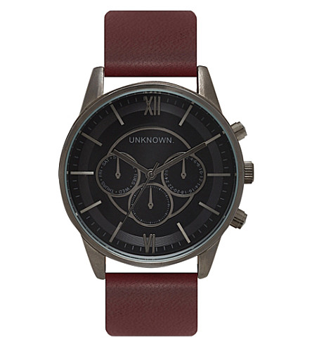 UNKNOWN Engineered stainless steel and leather UN14EN06 watch