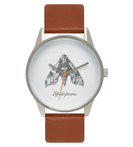 UNKNOWN Natural Science Lepidoptera alloy and leather UN14NS07 watch