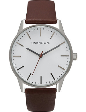 UNKNOWN UN14TC01 The Classic stainless steel and leather watch