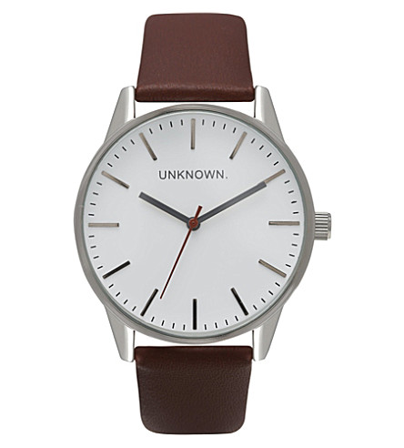 UNKNOWN UN14TC01 The Classic stainless steel and leather watch (White